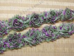 Шифоновые шебби-розы зеленые цветы  диаметр 6 см