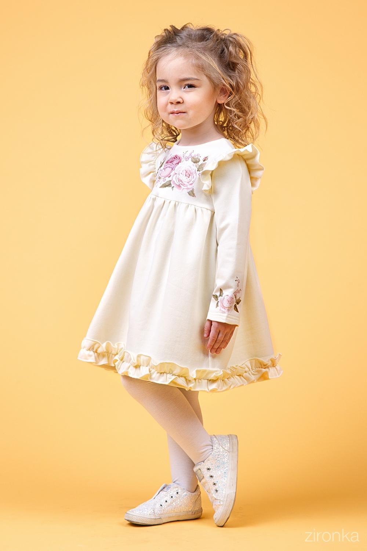 Платье молочное для девочки 38-9015-1