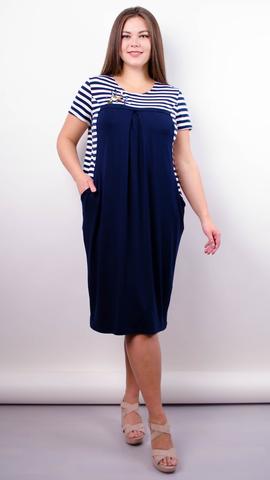 Роксолана лето. Стильное платье для больших размеров. Синий+полоса.