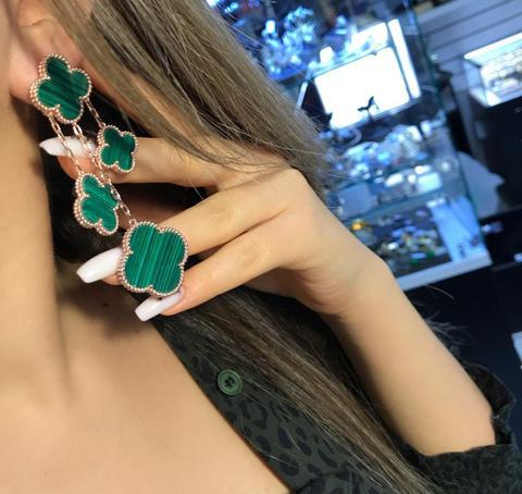 Серьги Aperls Green LUX