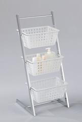 """Стойка """"MK-2300. (SR-1396-C)"""" с 3-мя корзинами для хранения —  Белый + хром"""