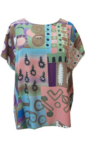 Блузка батик Разноцветная Африка П-182
