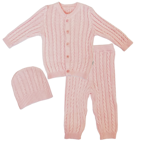 Папитто. Комплект кофточка, штанишки, шапочка, розовый