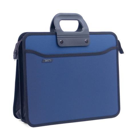 Папка-портфель пластиковая А4+ синяя (390x320 мм, 4 отделения, усиленная ручка)