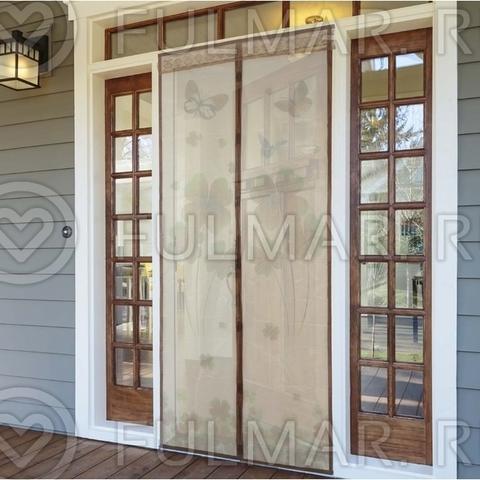 Москитная сетка на балконную и входную дверь на магнитах с рисунком Клевер 90х210 см Коричневая