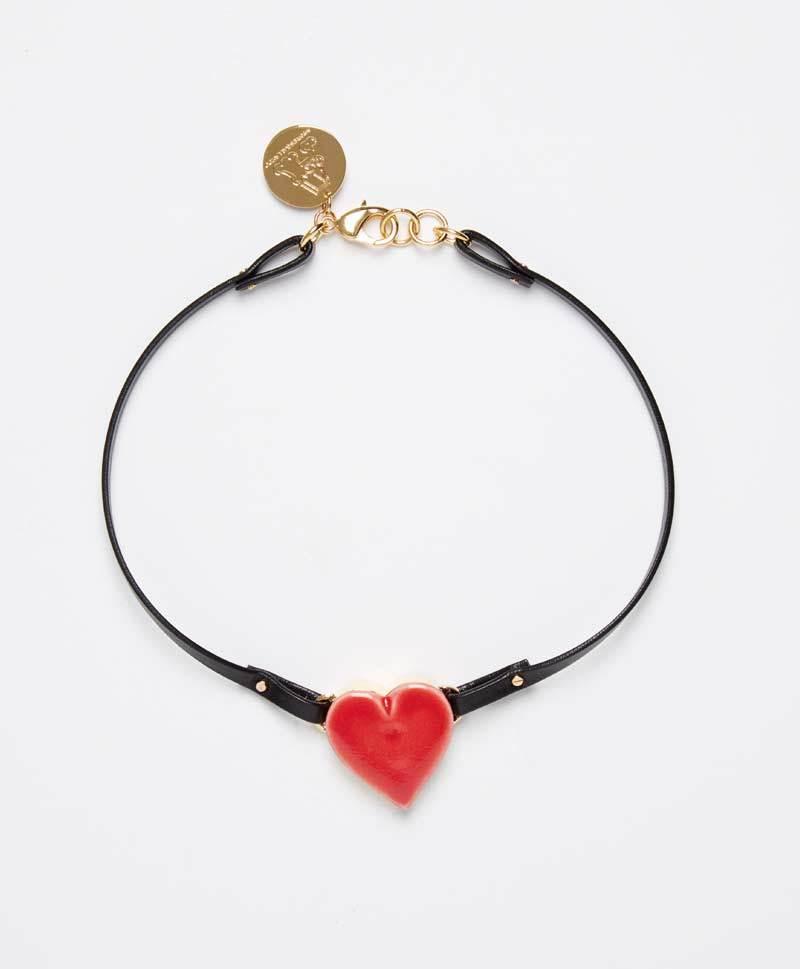 Колье-чокер Single Heart Red