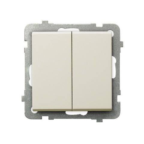 Выключатель/переключатель двухклавишный на 2 направления(проходной схема 6+1). Цвет Бежевый. Ospel. Sonata. LP-9R/m/27