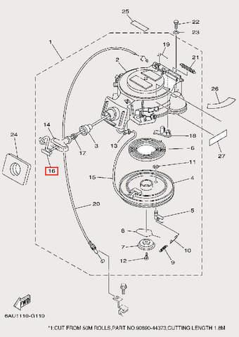 Крышка ручки для лодочного мотора F9,9 Sea-PRO (10-16)