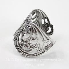 Винтажная основа для кольца (филигрань с цветочками) (оксид серебра)