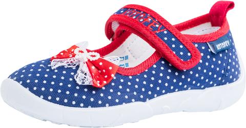 Детские текстильные туфли Котофей 431042-14, для девочки, сине-красные. Изображение 1 из 3.