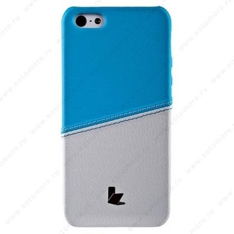 Накладка Jisoncase для iPhone SE/ 5s/ 5C/ 5 двухцветная белая/голубая JS-IP5-05H