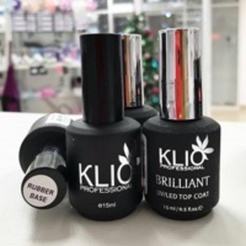 Klio Professional, Набор База Rubber и Топ Brilliant, 15 мл