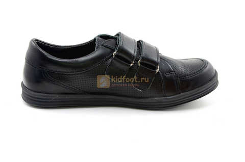 Ботинки на липучках для мальчиков Лель (LEL) из натуральной кожи цвет черный. Изображение 5 из 17.
