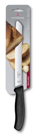 Нож Victorinox для хлеба, лезвие 21 см волнистое, черный, в блистере