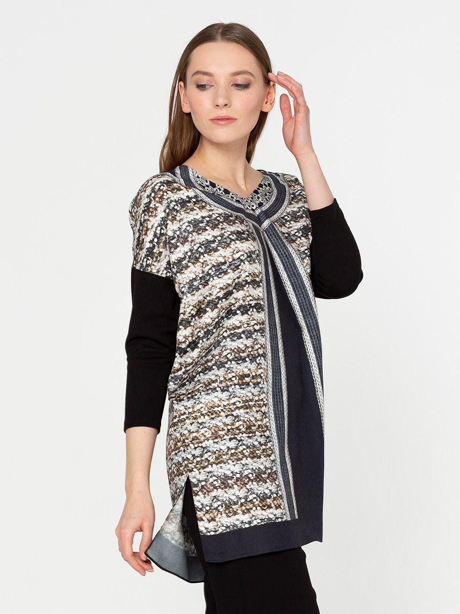 Блуза Г474-501 - Удлиненная блуза-туника свободного силуэта со спускным плечом и трикотажным рукавом 3/4. Оригинальный принт имитирует жилет одетый поверх однотонной блузы.