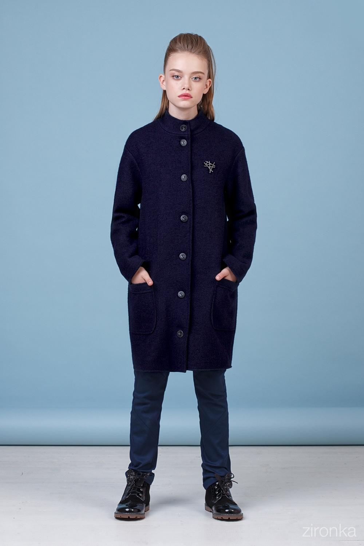 Пальто синее для девочки 50-8001-2