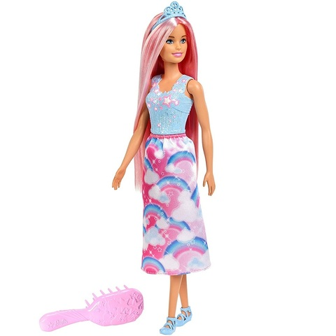 Барби Дримтопия Принцесса с длинными розовыми волосами
