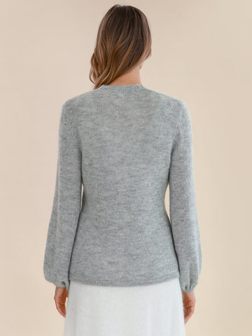Женский джемпер светло-серого цвета из мохера и шерсти - фото 4