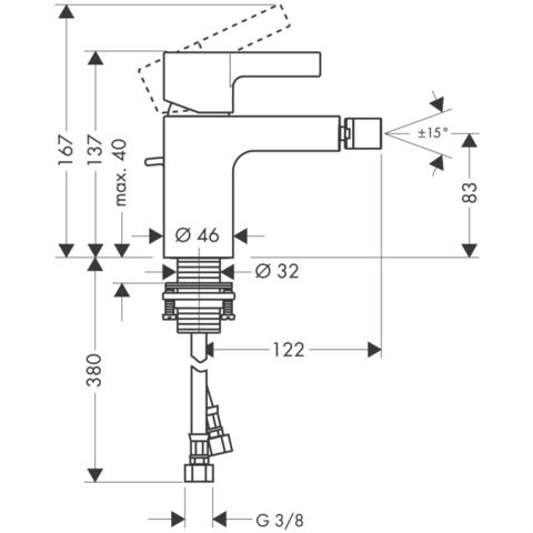 Смеситель для биде Hansgrohe Metris S,  31261000 схема