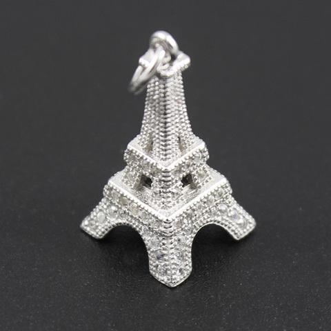 Подвеска Эйфелева башня 20 мм микроинкрустация фианитами серебро 925 1 шт