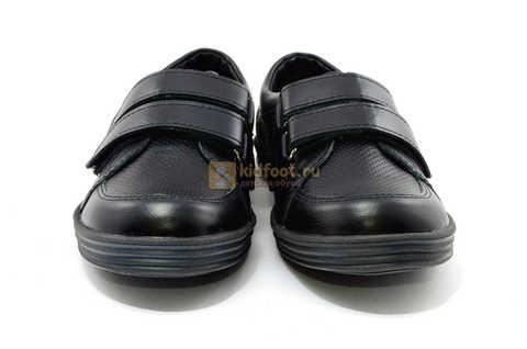Ботинки на липучках для мальчиков Лель (LEL) из натуральной кожи цвет черный. Изображение 6 из 17.