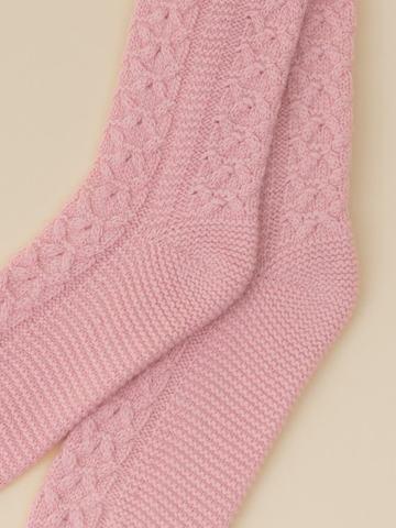 Женские носки светло-розового цвета из 100% кашемира - фото 2