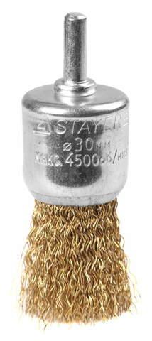 Щетка кистевая для дрели, витая стальная латунированная проволока 0,3мм, 30мм, STAYER, MAXClean