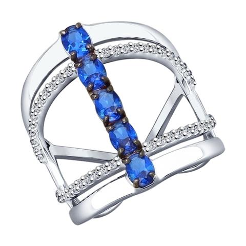 94012144-Кольцо из серебра с синими фианитами