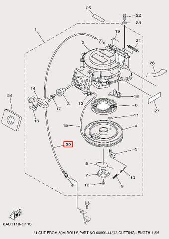 Трос блокировки стартера для лодочного мотора F9,9 Sea-PRO (10-20)