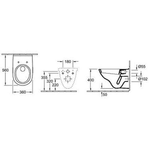 Унитаз подвесной Villeroy&Boch O.Novo 5660 H1 01 с сиденьем микролифт схема