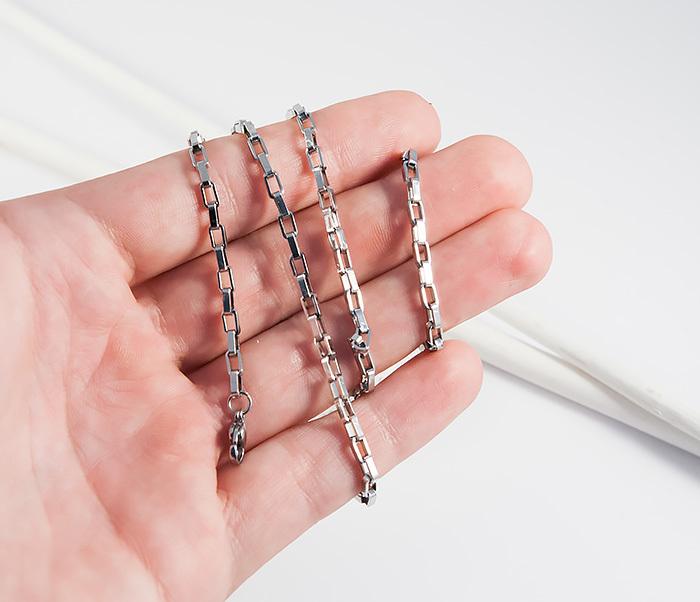 SSNH-0198-3 Мужская цепочка из стали с прямоугольными звеньями, «Spikes» (55 см) фото 04