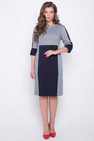 <p>Актуальное платье из вискозного джерси полуприлегающего силуэта. Платье с контрастными вставками, лампасами и манжетами черничного цвета. Отличный модный деловой вариант. Ткань очень приятная к телу.</p>