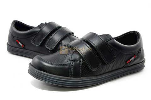 Ботинки на липучках для мальчиков Лель (LEL) из натуральной кожи цвет черный. Изображение 10 из 17.