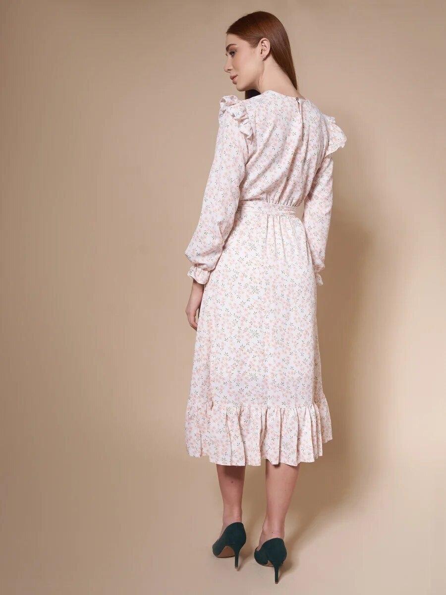 Платье миди с оборками