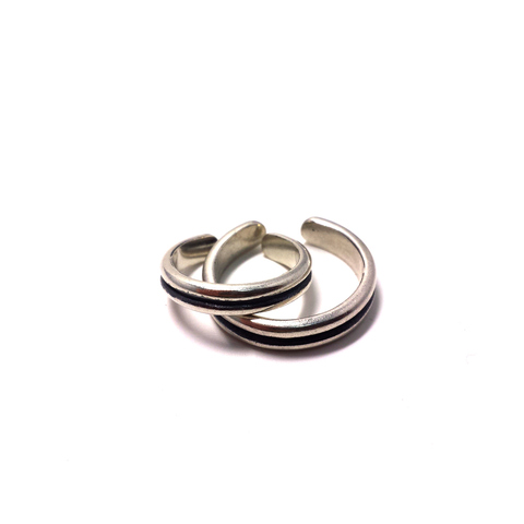 Pair phalanx rings Rock 'n' roll together, sterling silver