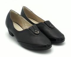 Черные кожаные туфли с лакированной вставкой