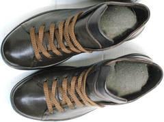 Мужские сникерсы ботинки кожаные демисезонные Ikoc 1770-5 B-Brown.