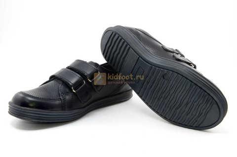 Ботинки на липучках для мальчиков Лель (LEL) из натуральной кожи цвет черный. Изображение 12 из 17.