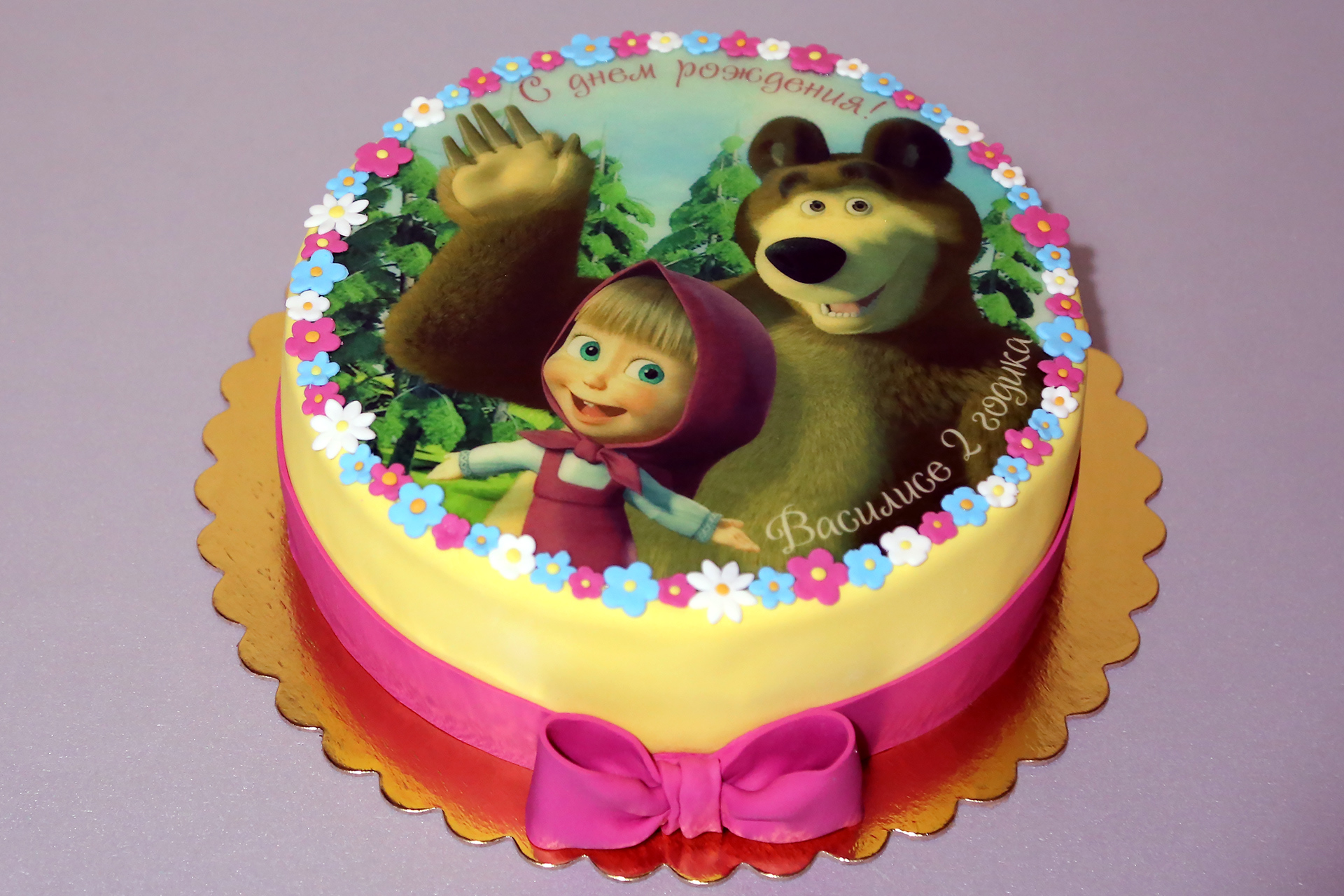 торт с картинкой маша и медведь бока из крема фото чисто для