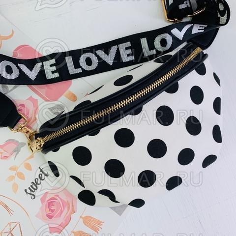 01c490ff061 Оригинальная женская поясная сумка в горох с поясом Love Белая