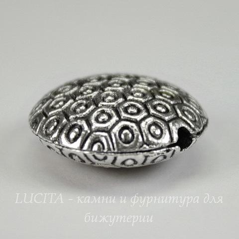 Бусина металлическая круглая плоская 19х8 мм (цвет - античное серебро)