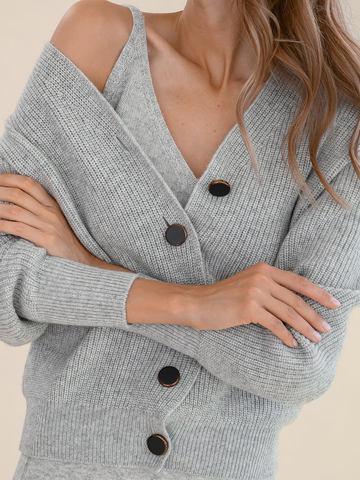 Женский жакет светло-серого цвета из шерсти и кашемира - фото 3
