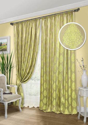 Комплект штор и тюль Stefani оливковый