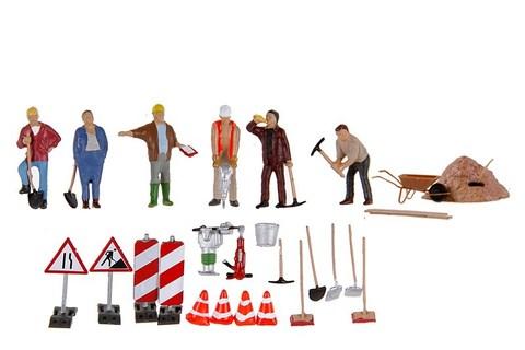 Дорожные рабочие - 6 фигур + аксессуары, (H0)