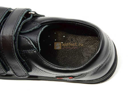 Ботинки на липучках для мальчиков Лель (LEL) из натуральной кожи цвет черный. Изображение 14 из 17.
