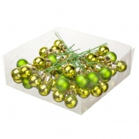 Набор шаров елочных на проволоке 48шт. (пластик), D2см, цвет: зелёный
