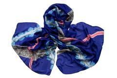 Палантин синий с рисунком 0455