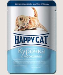 Пауч для котят Happy Cat курочка с морковью в соусе