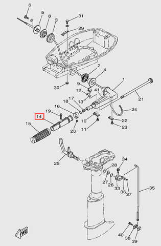Основание ручки газа для лодочного мотора T5 Sea-PRO (9-14)