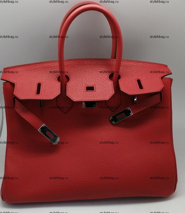 Красная женская сумка Hermes Birkin 35 red из кожи того